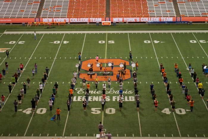 The SUMB rehearses the Bohemian Rhapsody Halftime Show it will perform at the upcoming Buffalo Bills game.